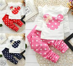 Newborn Baby Girls Minnie Mouse Outfits Clothes T-shirt Tops