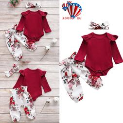 Newborn Baby Girls Romper Tops Jumpsuit Floral Pants Headban