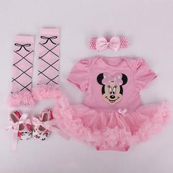 Newborn Infant Baby Girls Headband+Romper+Leg Warmers+Shoes
