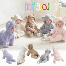 Newborn Infant Boy Girl Romper Hooded Baby Jumpsuit Bodysuit