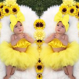 Newborn Kid Baby Girl Clothes Ruffle Tube Tops Tutu Skirt Dr