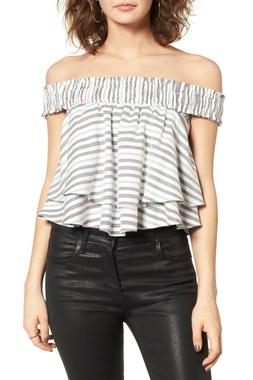 WAYF Northside Off The Shoulder Striped Layered Blouse Top M