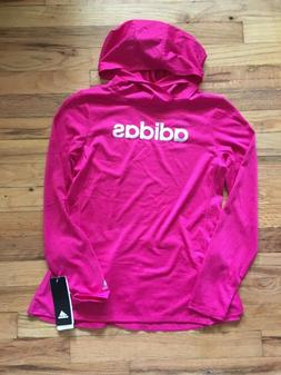 NWT Adidas Big Girls Silver Logo Magenta Hooded L/S  Climali