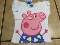 NWT Girls Cartoon Pig White S/S Shirt Graphic Hearts Tee Top