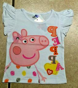 NWT Girls Cartoon Pig White S/S Shirt Graphic Dots Tee Top S