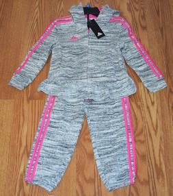 NWT Girls ADIDAS Lt Gray Full Zip Hooded Jacket Active Pants