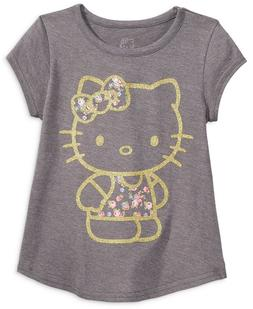 NWT Girls Hello Kitty Metallic Print Tee / Top Charcoal Grey