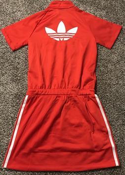 NWT Girls Adidas Originals Red White 3 Stripe JL FB Dress Sz
