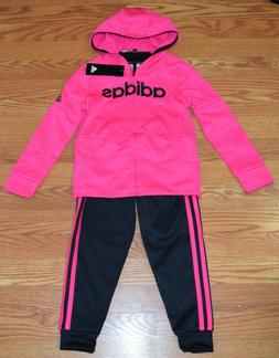 NWT Girls ADIDAS Pink Black Full Zip Hooded Jacket Pants Out