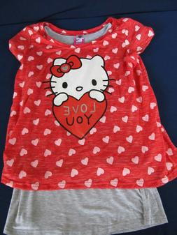 NWT Hello Kitty girls XL  two piece  layered Valentine heart