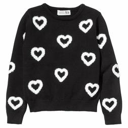 NWT H&M GIRLS HEART COVERED BLACK AND WHITE NOVELTY SWEATER