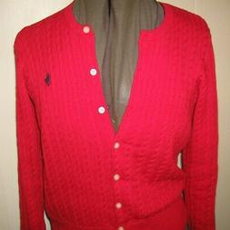 NWT NEW GIRLS POLO RALPH LAUREN RED CABLE CARDIGAN SWEATER X