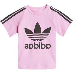adidas Originals Girls 3 Stripe Short Sleeve Crew Neck T-Shi