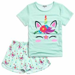 Pajamas For Girls Unicorn Face Pjs Sets Short Sleeve Sleep N