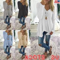 Plus Size Women Long Sleeve Loose Blouse Baggy Tops Holiday