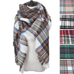 Premium Winter Large Soft Knit Plaid Checked Square Blanket