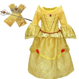 Princess Belle Yellow Deluxe Girls Costume Dress with Cospla