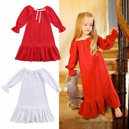 Princess Kids Baby Girls Cotton Long Sleeve Dress Casual Par