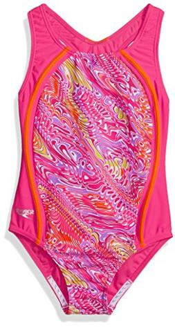 Speedo Girls Printed Sport Splice, Electric Pink, Size 7