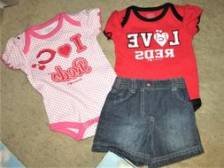 RED sox Baseball 2 baby shirts /jeans 3 Mo shorts sports fan