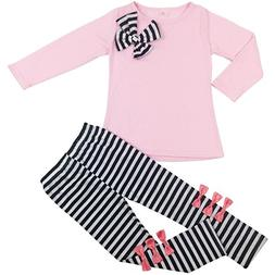 Jastore 2pcs Baby Girls Clothing Sets Bowknot T-Shirt Top+Pa