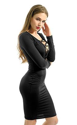Bomdeals Women's Sexy Long Sleeve Warm Stretch Bodycon Party
