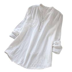 HGWXX7 Womens Solid Plus Size Long Sleeve Cotton Loose Tunic