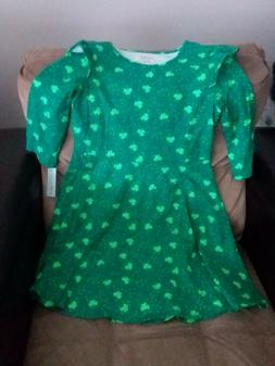 St. Patricks Day Girls Green Cotton Blend Shamrock Dress