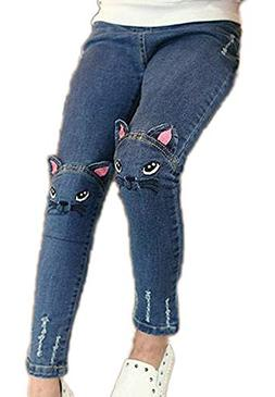 Sitmptol Girls Stretchy Jeans Kids Ripped Denim Trousers Jeg