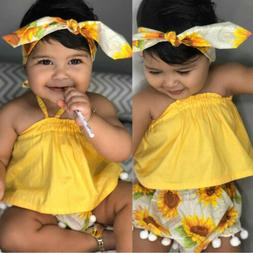 Summer Baby Girl Sleeveless Tops Sunflower Tassel Ball Short