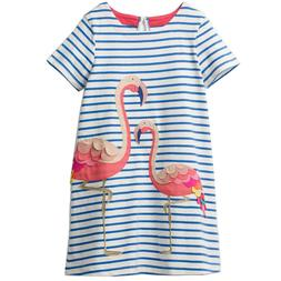 Infants Girls Summer Dress Flamingo Animal Print Striped Cot