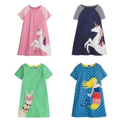 Summer Girls Dress Short Sleeves Party Dressy Cotton Clothin