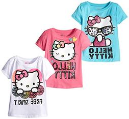Hello Kitty Girls' Little Girls' 3 Pack T-Shirt Shirt, Multi