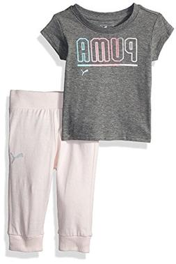 PUMA Baby Girls' 2 Piece Tee & Capri Joggers Set, Medium Hea