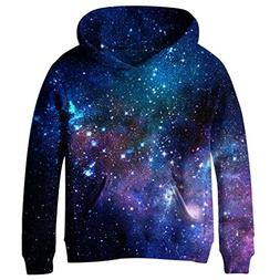 SAYM Teen Boys' Galaxy Fleece Sweatshirts Pocket Pullover Ho