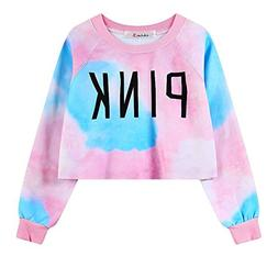 Girls Teens Sweetshirt Pullover Sweater Round Neck Crop Top