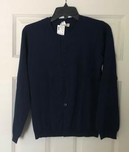 THE LIMITED TOO GIRLS BLUE/NAVY LONG SLEEVE BUTTON DOWN CARD