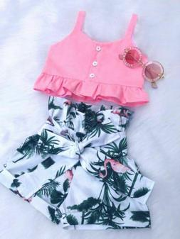 Toddler Baby Girl Floral Vest Crop Tops Short Pants Outfits