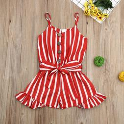 Toddler Baby Girls Clothes Strap Striped Romper Fashion Beac