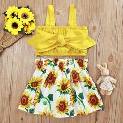 Toddler Baby Girls Sleeveless Tops+Floral Skirt Dress Outfit