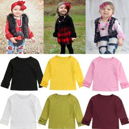 Toddler Baby Kids Girl Cotton Long Sleeve Solid Color  Tee T