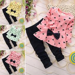Toddler Baby Kids Girl Winter Clothes Tops T-shirt Pants Out