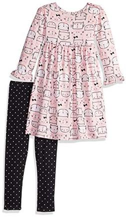 Gerber Girls' Dress and Legging Set, Kitty Heads, 5T