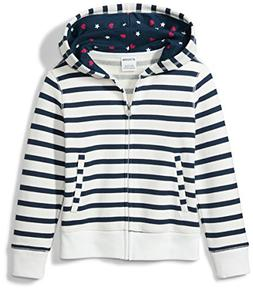Spotted Zebra Girls' Toddler Fleece Zip-up Hoodies, Navy/Whi