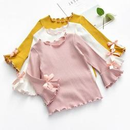 Toddler Girl Solid Color Long-sleeve Shirt Kid Casual Bow To