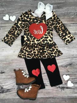 Toddler, Girls Boutique Clothing Outfit, Cheetah Love Heart