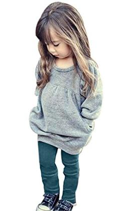 Toddler Girls Clothes Winter Warm Long Sleeve Tops+Long Pant