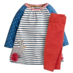 Toddler Girls Clothing Set Cotton Cartoon Appliques Kids Aut