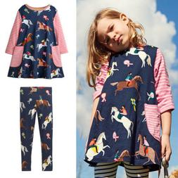 Toddler Girls Dress Long Sleeve Unicorn Dress Set Cotton Bab