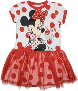 Disney Toddler Girls' Minnie Mouse Tulle Dress, White with R